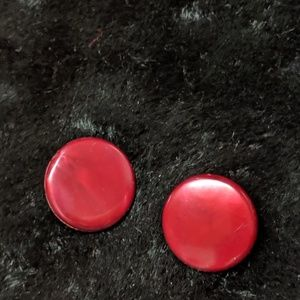 Vintage Cherry Red button earrings